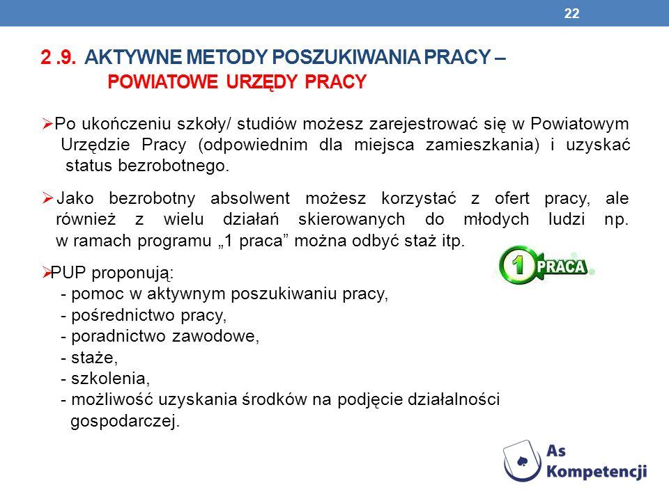 2 .9. AKTYWNE METODY POSZUKIWANIA PRACY – powiatowe urzędy PRACY