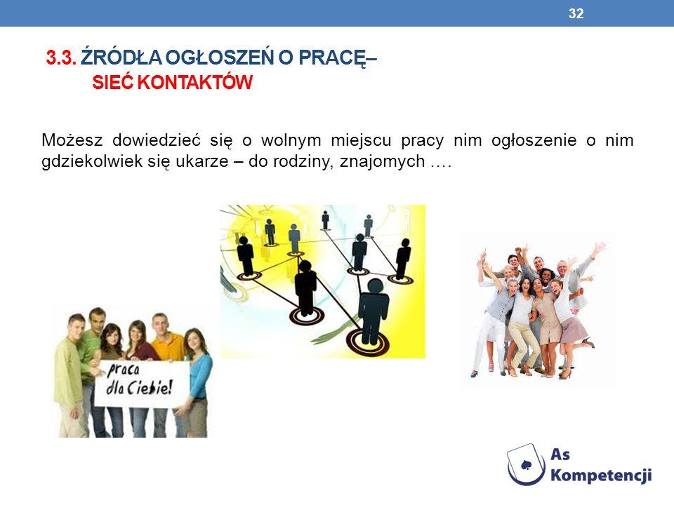 3.3. źródła ogłoszeń o pracę– sieć kontaktów
