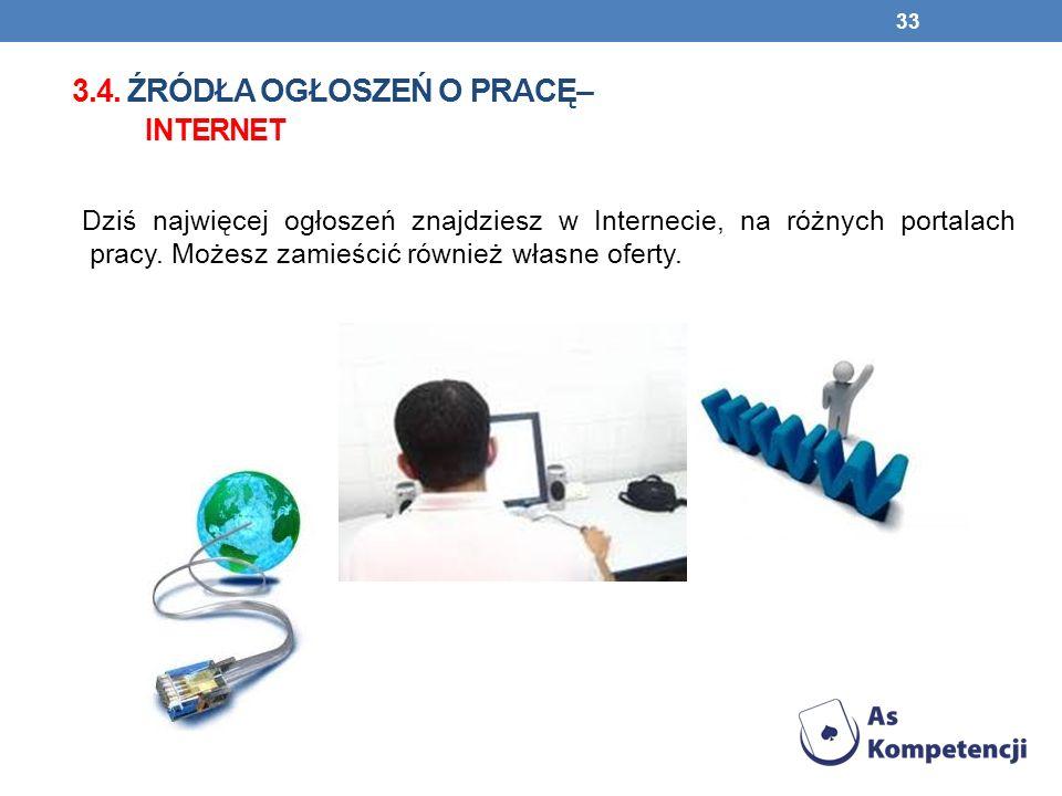 3.4. źródła ogłoszeń o pracę– internet