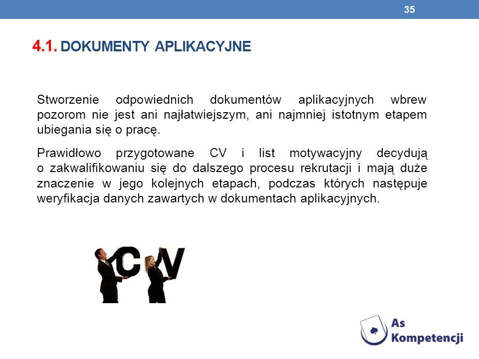4.1. dokumenty aplikacyjne