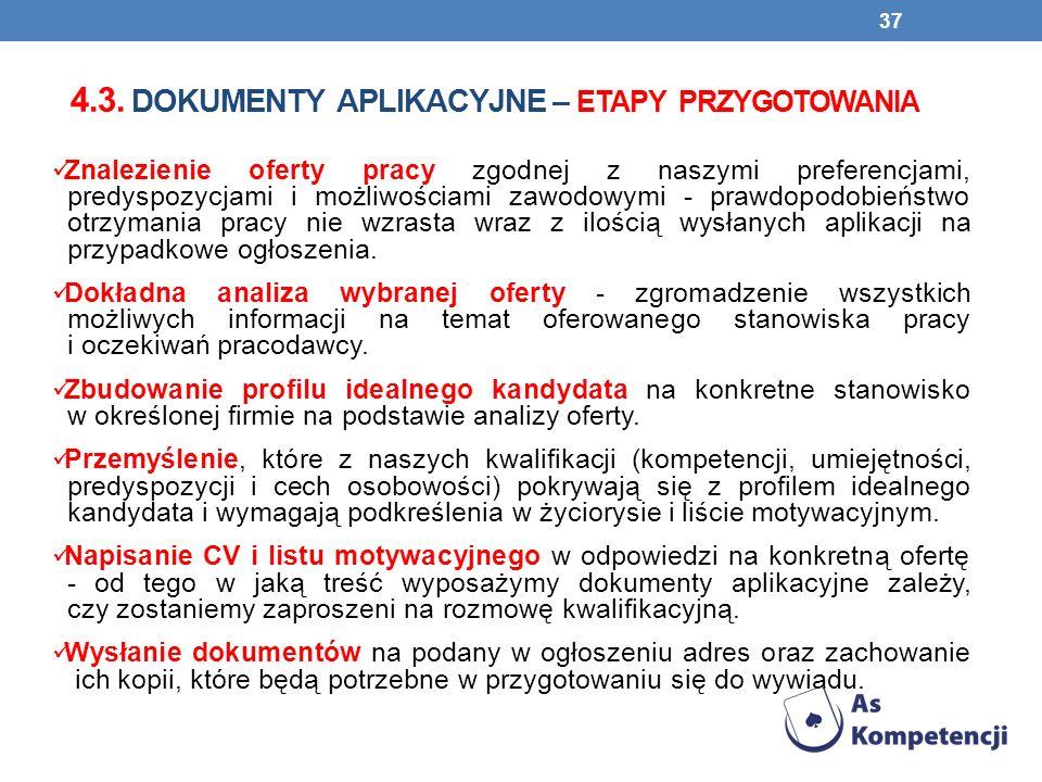 4.3. dokumenty aplikacyjne – etapy przygotowania