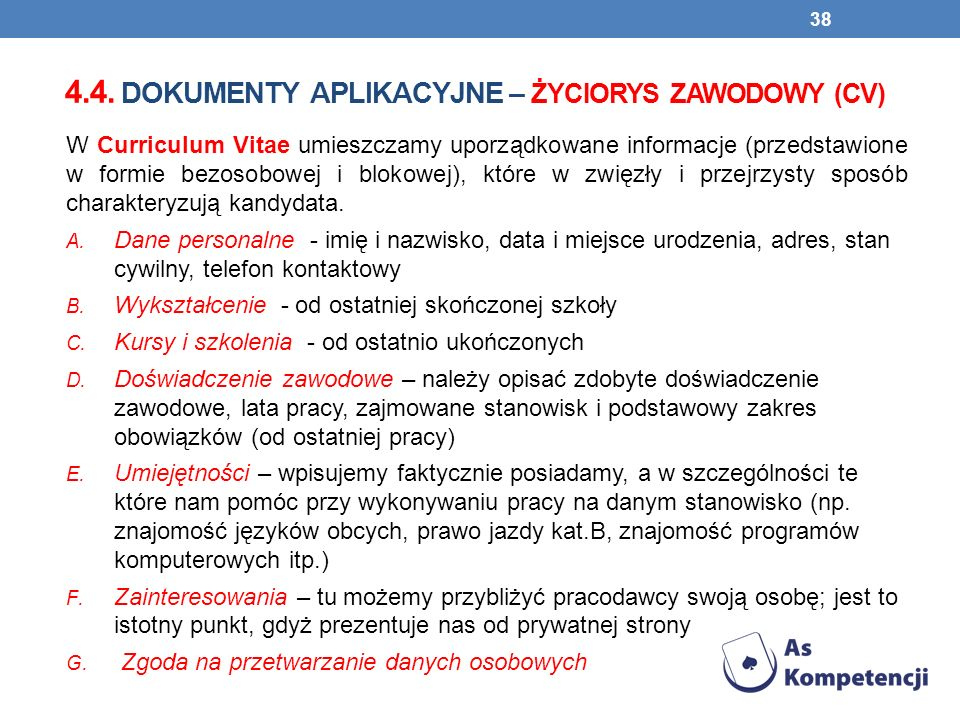 4.4. dokumenty aplikacyjne – życiorys zawodowy (cv)
