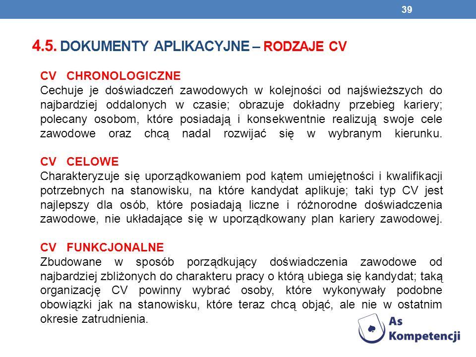 4.5. dokumenty aplikacyjne – rodzaje cv
