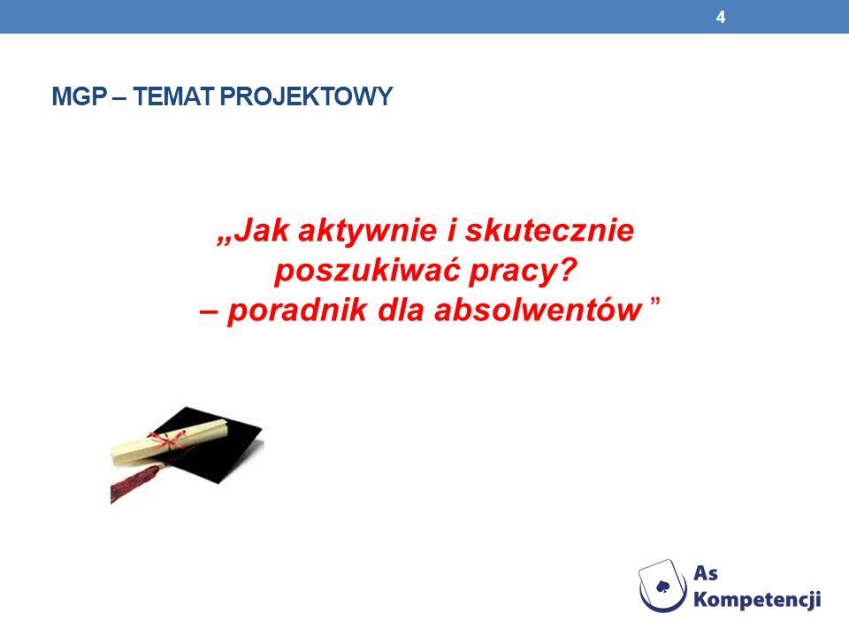 """Mgp – temat projektowy """"Jak aktywnie i skutecznie poszukiwać pracy."""