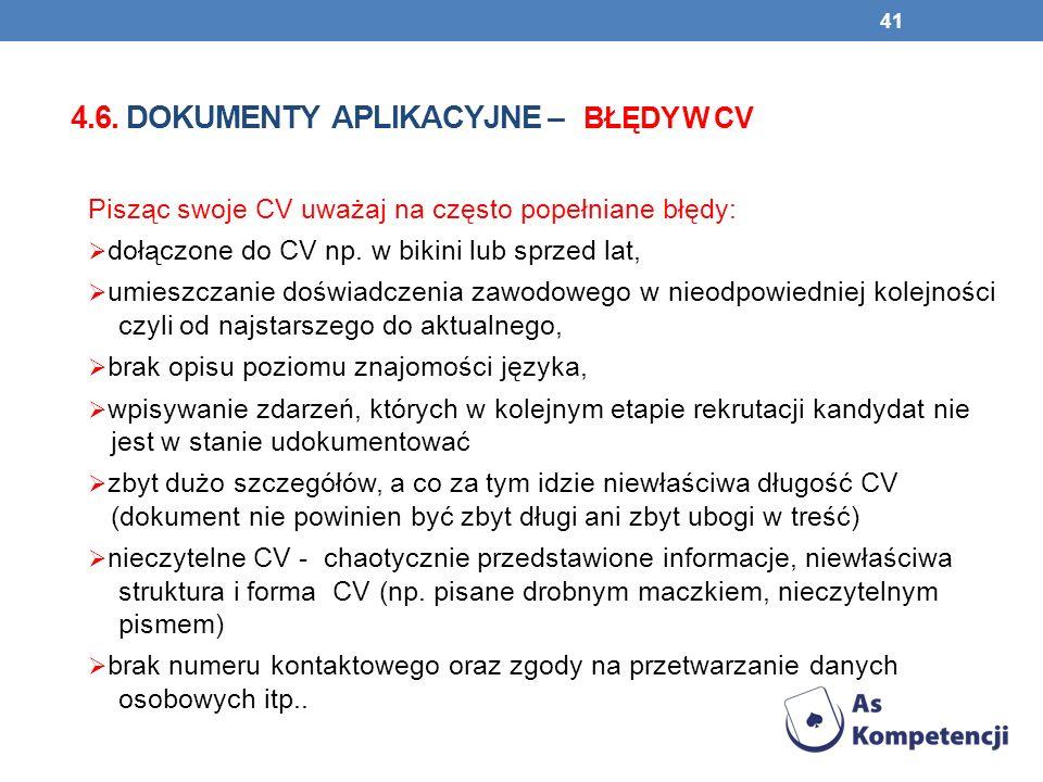 4.6. dokumenty aplikacyjne – błędy w CV