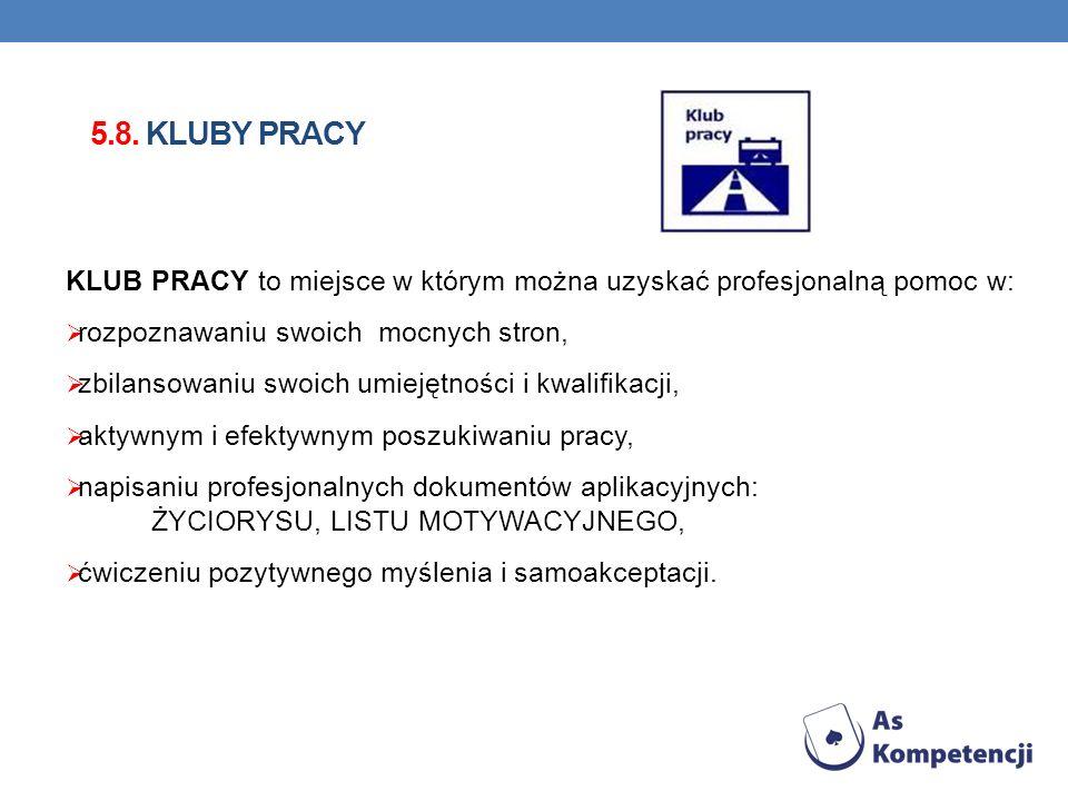 5.8. Kluby pracy KLUB PRACY to miejsce w którym można uzyskać profesjonalną pomoc w: rozpoznawaniu swoich mocnych stron,