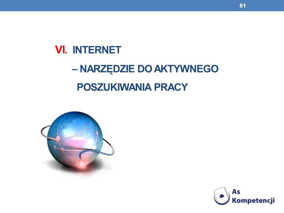 VI. INTERnet – narzędzie do aktywnego poszukiwania pracy