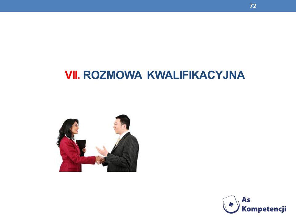 VII. Rozmowa kwalifikacyjna