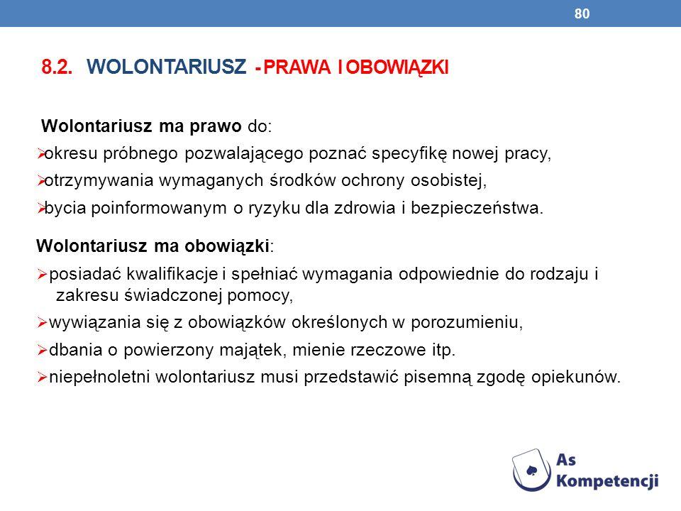 8.2. wolontariusz - prawa i obowiązki