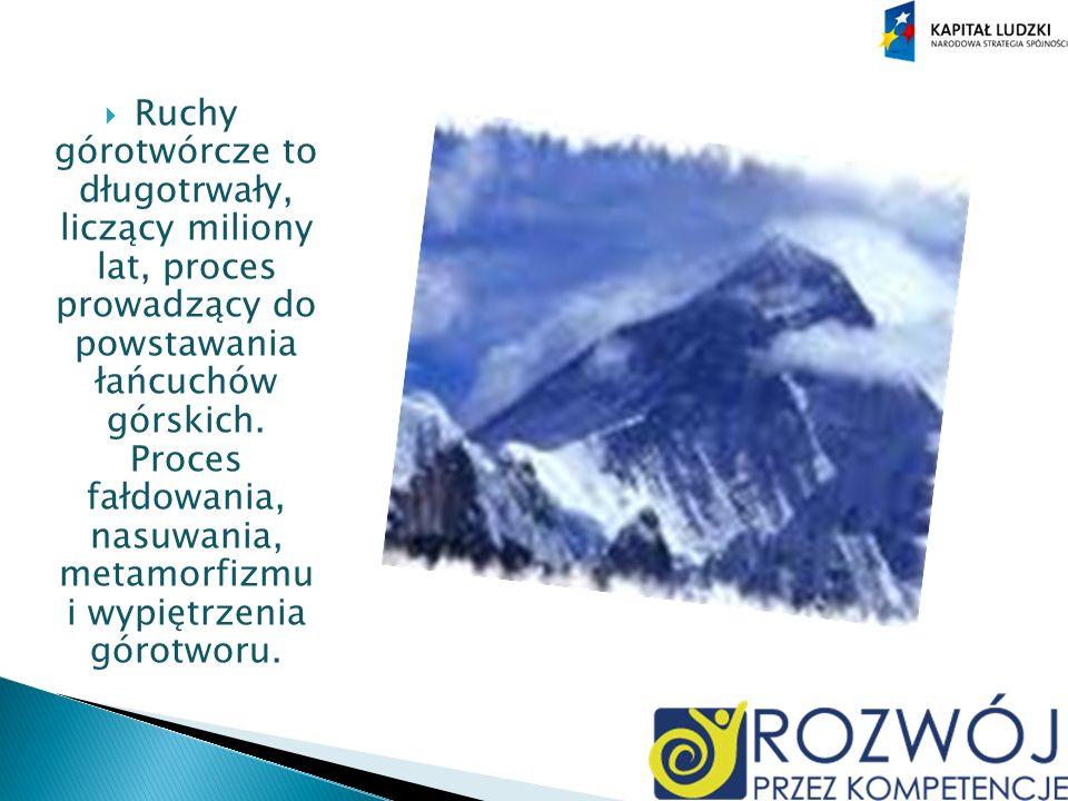 Ruchy górotwórcze to długotrwały, liczący miliony lat, proces prowadzący do powstawania łańcuchów górskich.