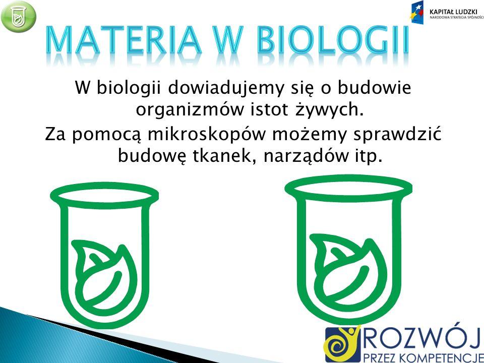 Materia w biologii W biologii dowiadujemy się o budowie organizmów istot żywych.