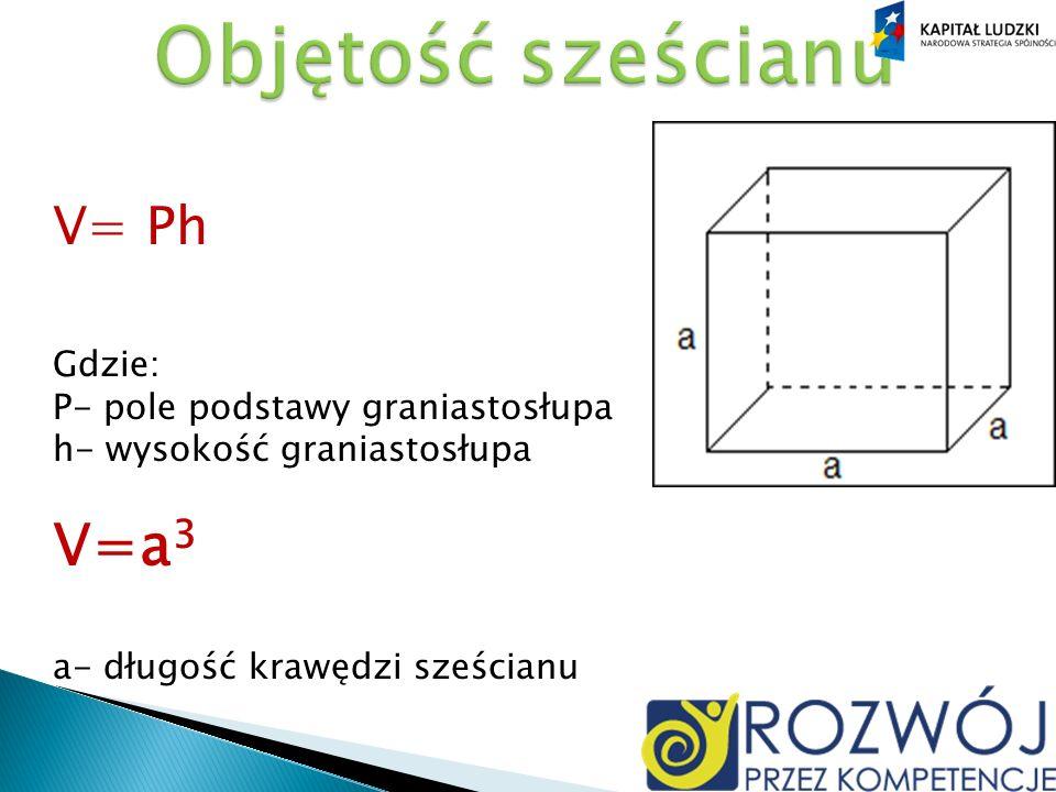 Objętość sześcianu V= Ph Gdzie: P- pole podstawy graniastosłupa h- wysokość graniastosłupa V=a3 a- długość krawędzi sześcianu