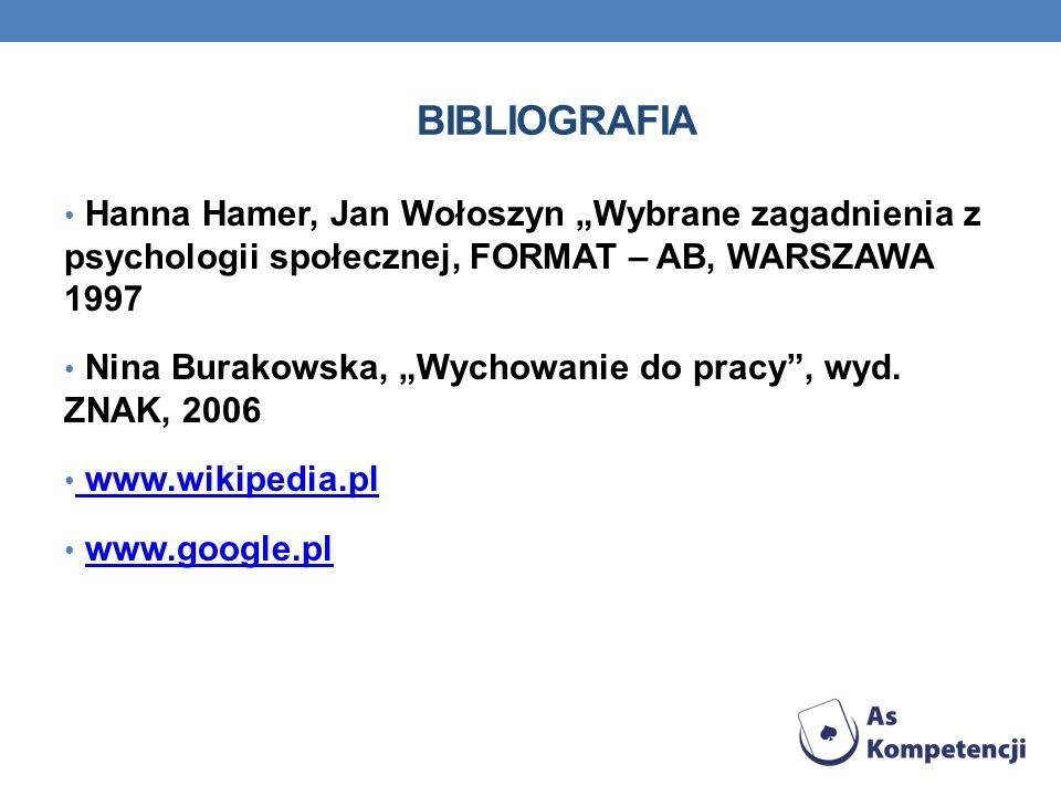 """BIbliografia Hanna Hamer, Jan Wołoszyn """"Wybrane zagadnienia z psychologii społecznej, FORMAT – AB, WARSZAWA 1997."""