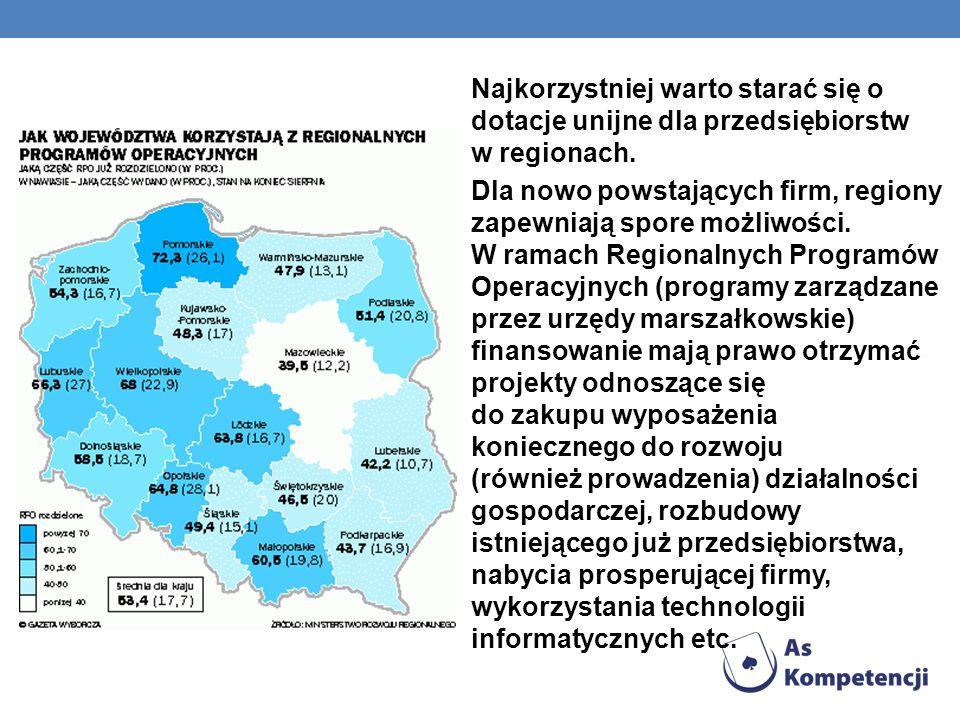 Najkorzystniej warto starać się o dotacje unijne dla przedsiębiorstw w regionach.