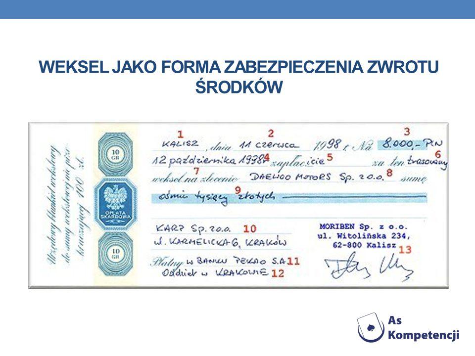 Weksel jako forma zabezpieczenia zwrotu środków