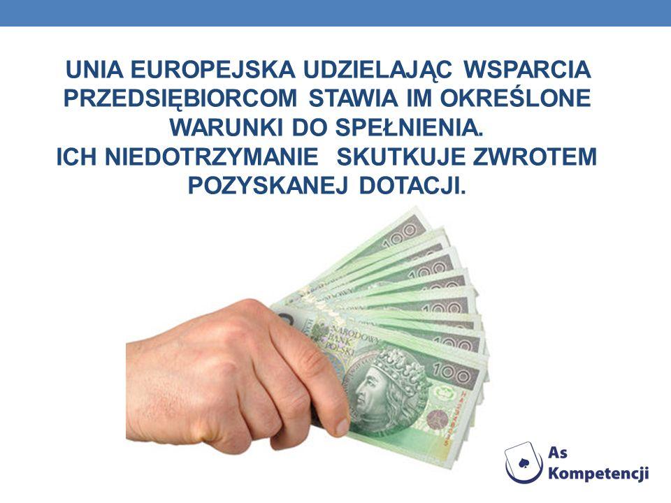 UNIA EUROPEJSKA UDZIELAJĄC WSPARCIA PRZEDSIĘBIORCOM STAWIA IM OKREŚLONE WARUNKI DO SPEŁNIENIA.