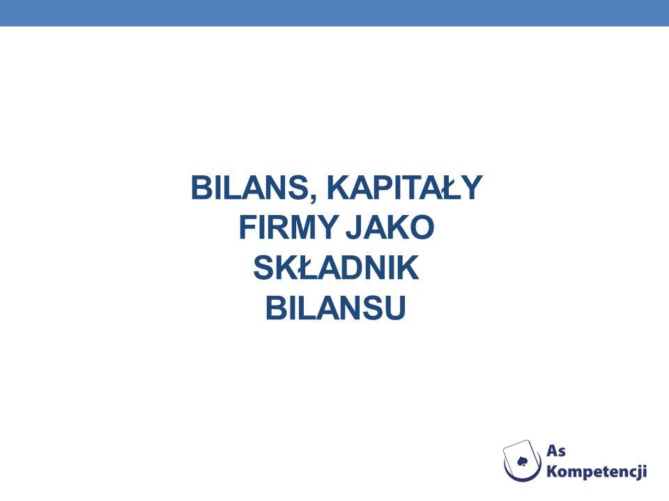 BILANS, Kapitały firmy jako składnik bilansu