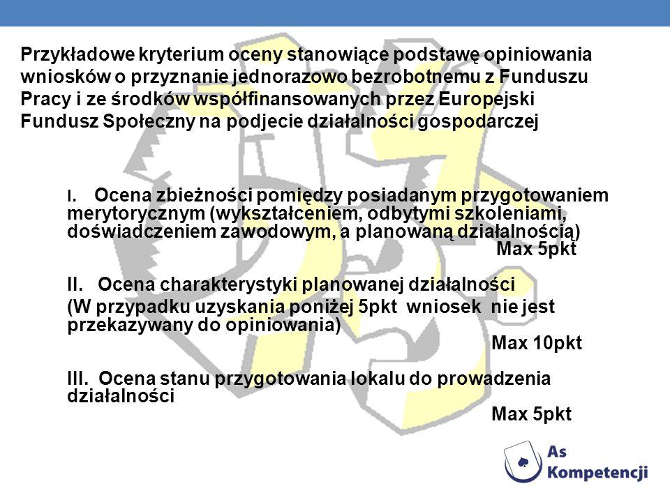 Przykładowe kryterium oceny stanowiące podstawę opiniowania wniosków o przyznanie jednorazowo bezrobotnemu z Funduszu Pracy i ze środków współfinansowanych przez Europejski Fundusz Społeczny na podjecie działalności gospodarczej
