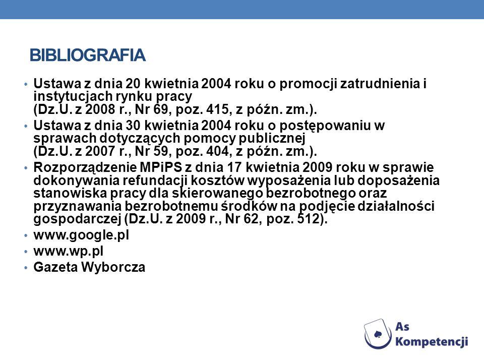 BIBLIOGRAFIAUstawa z dnia 20 kwietnia 2004 roku o promocji zatrudnienia i instytucjach rynku pracy (Dz.U. z 2008 r., Nr 69, poz. 415, z późn. zm.).