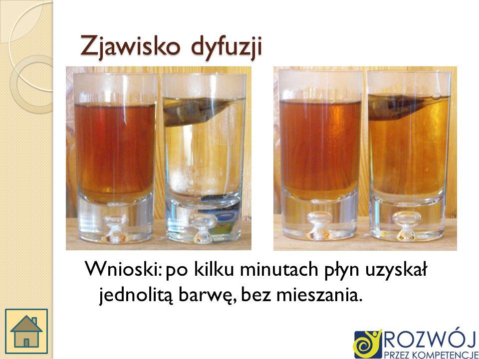 Zjawisko dyfuzji Wnioski: po kilku minutach płyn uzyskał jednolitą barwę, bez mieszania.