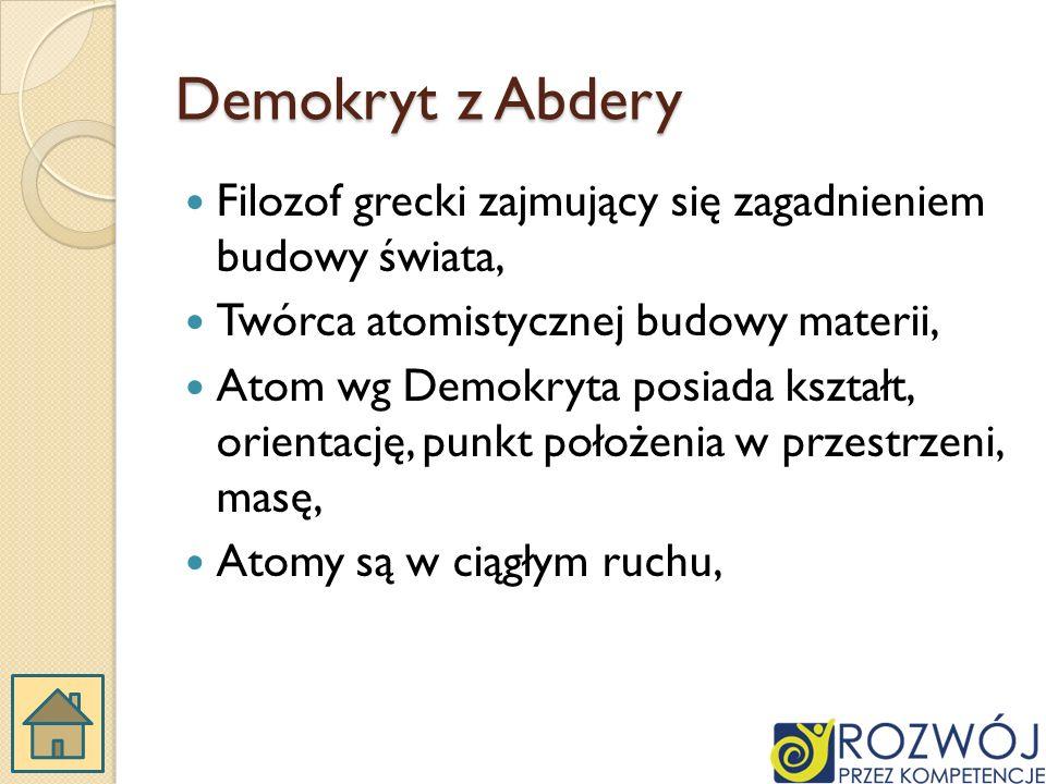 Demokryt z Abdery Filozof grecki zajmujący się zagadnieniem budowy świata, Twórca atomistycznej budowy materii,