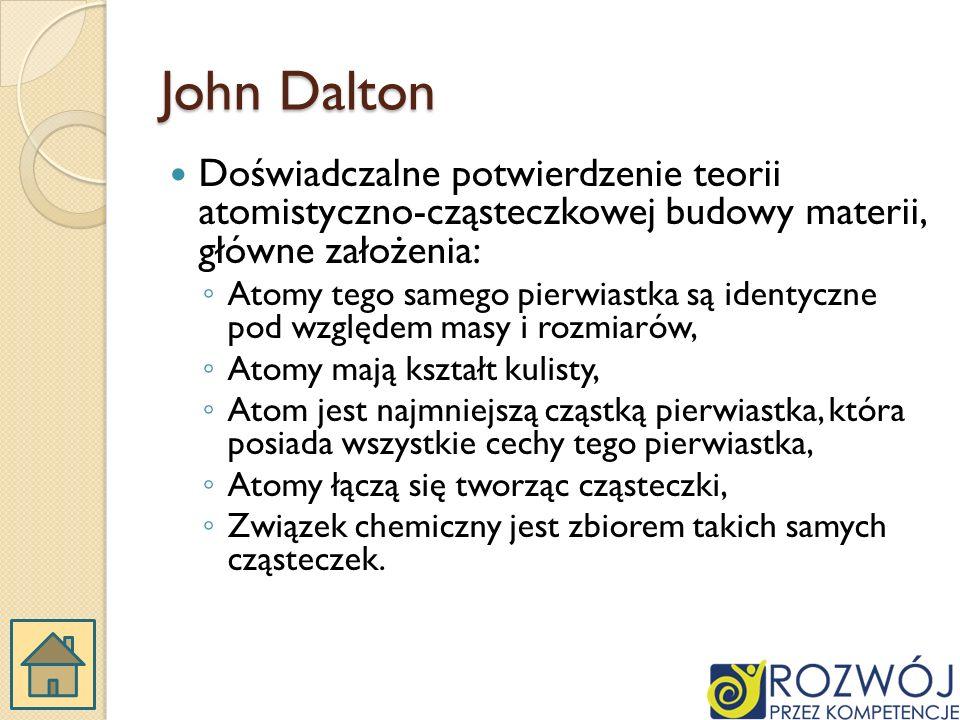 John Dalton Doświadczalne potwierdzenie teorii atomistyczno-cząsteczkowej budowy materii, główne założenia: