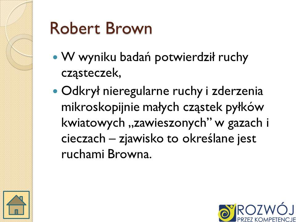Robert Brown W wyniku badań potwierdził ruchy cząsteczek,