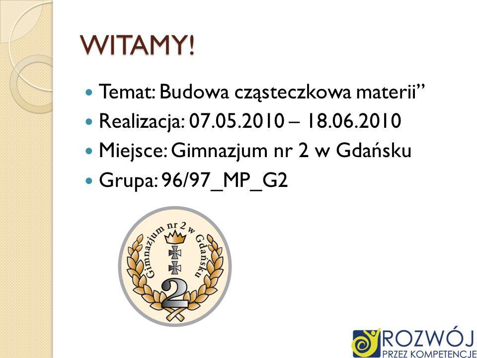 WITAMY! Temat: Budowa cząsteczkowa materii