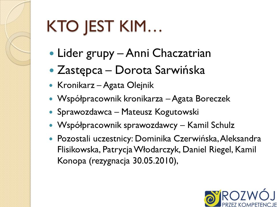 KTO JEST KIM… Lider grupy – Anni Chaczatrian