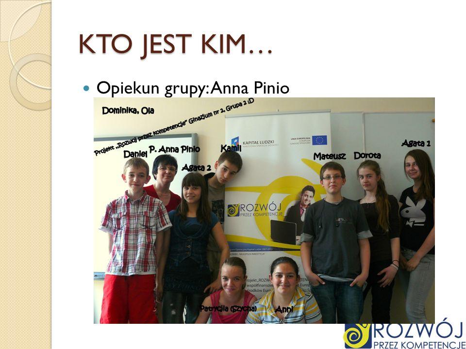 KTO JEST KIM… Opiekun grupy: Anna Pinio