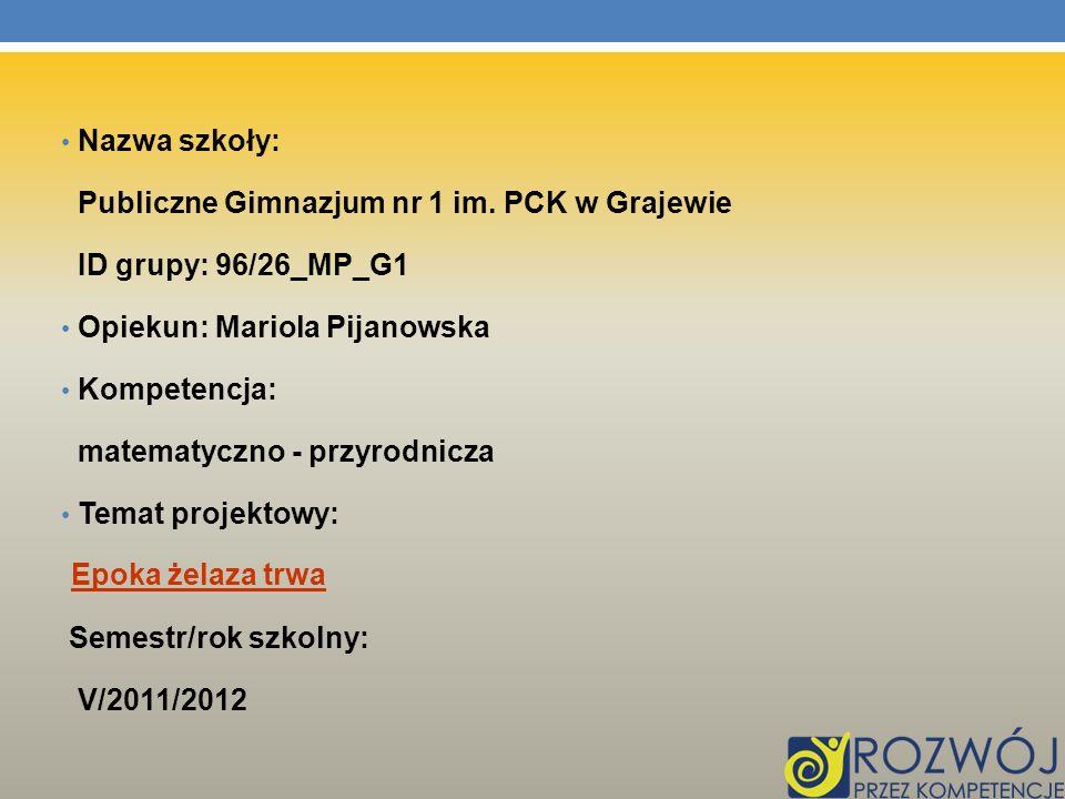Nazwa szkoły: Publiczne Gimnazjum nr 1 im. PCK w Grajewie. ID grupy: 96/26_MP_G1. Opiekun: Mariola Pijanowska.