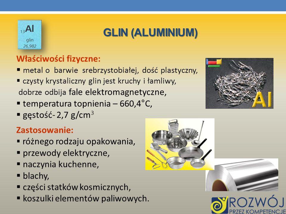 Glin (Aluminium) Właściwości fizyczne: