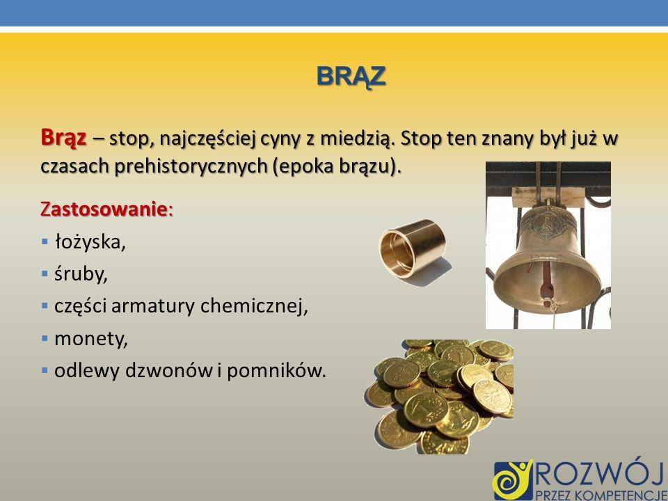 brąz Brąz – stop, najczęściej cyny z miedzią. Stop ten znany był już w czasach prehistorycznych (epoka brązu).