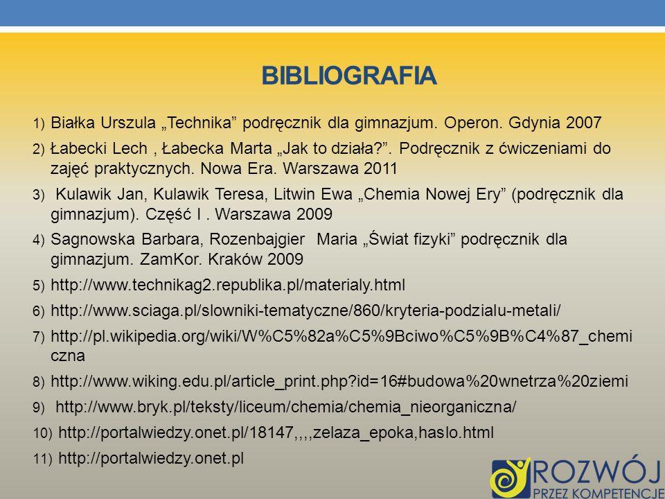 """Bibliografia Białka Urszula """"Technika podręcznik dla gimnazjum. Operon. Gdynia 2007."""