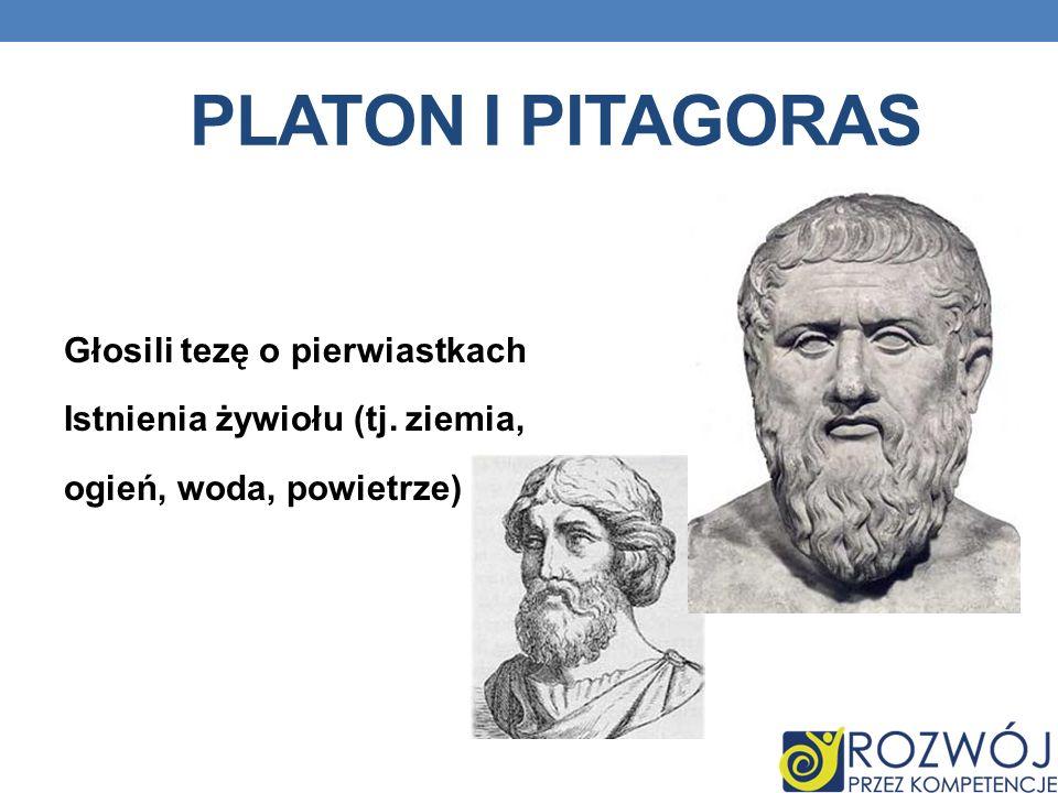 Platon i pitagoras Głosili tezę o pierwiastkach Istnienia żywiołu (tj.