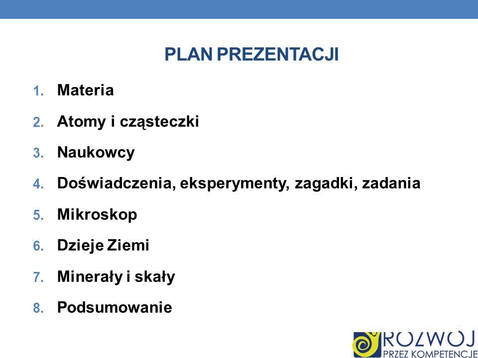 Plan prezentacji Materia Atomy i cząsteczki Naukowcy