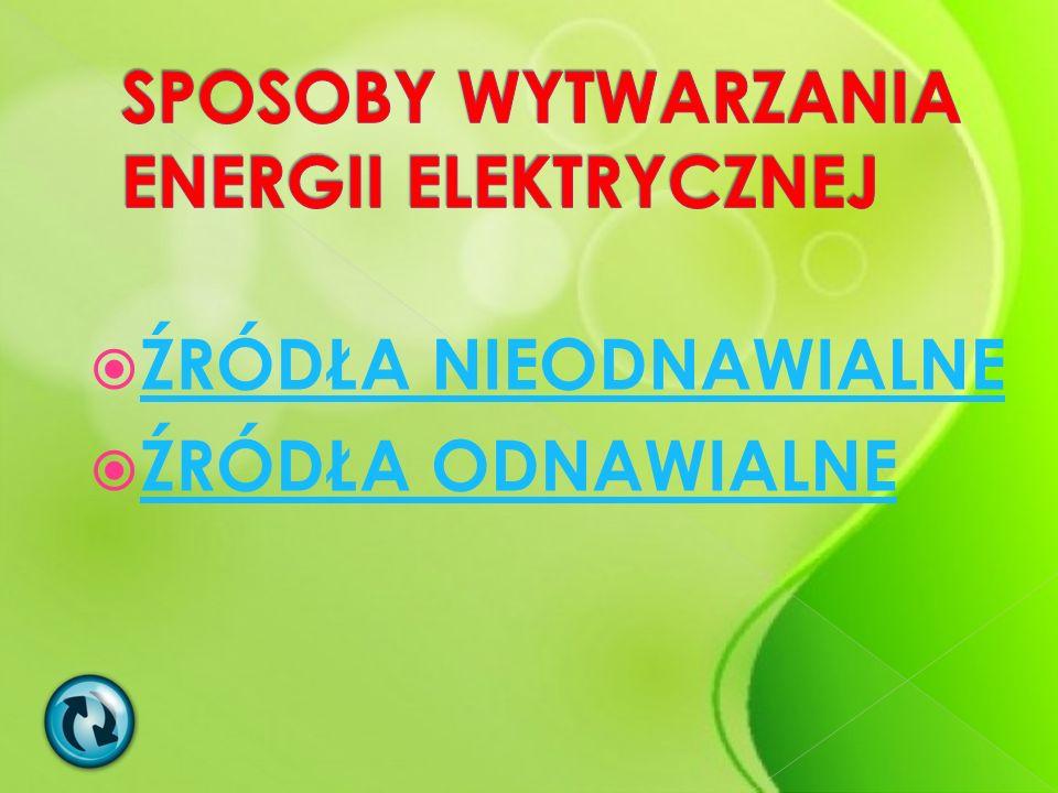 SPOSOBY WYTWARZANIA ENERGII ELEKTRYCZNEJ