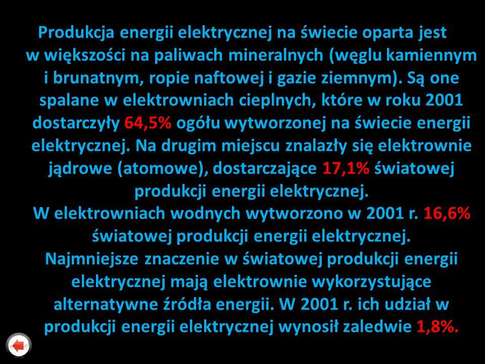 Produkcja energii elektrycznej na świecie oparta jest w większości na paliwach mineralnych (węglu kamiennym i brunatnym, ropie naftowej i gazie ziemnym).