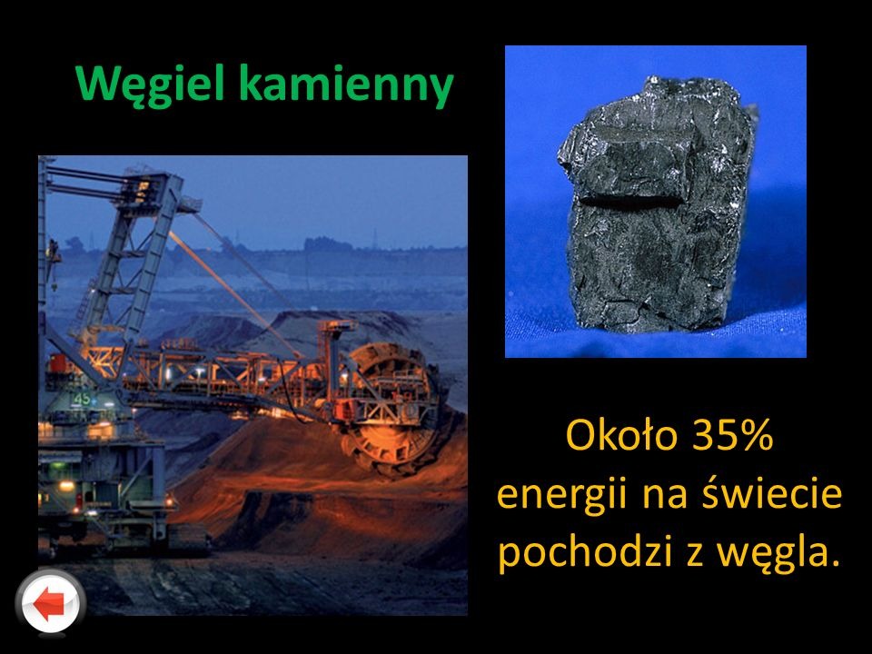 Około 35% energii na świecie pochodzi z węgla.