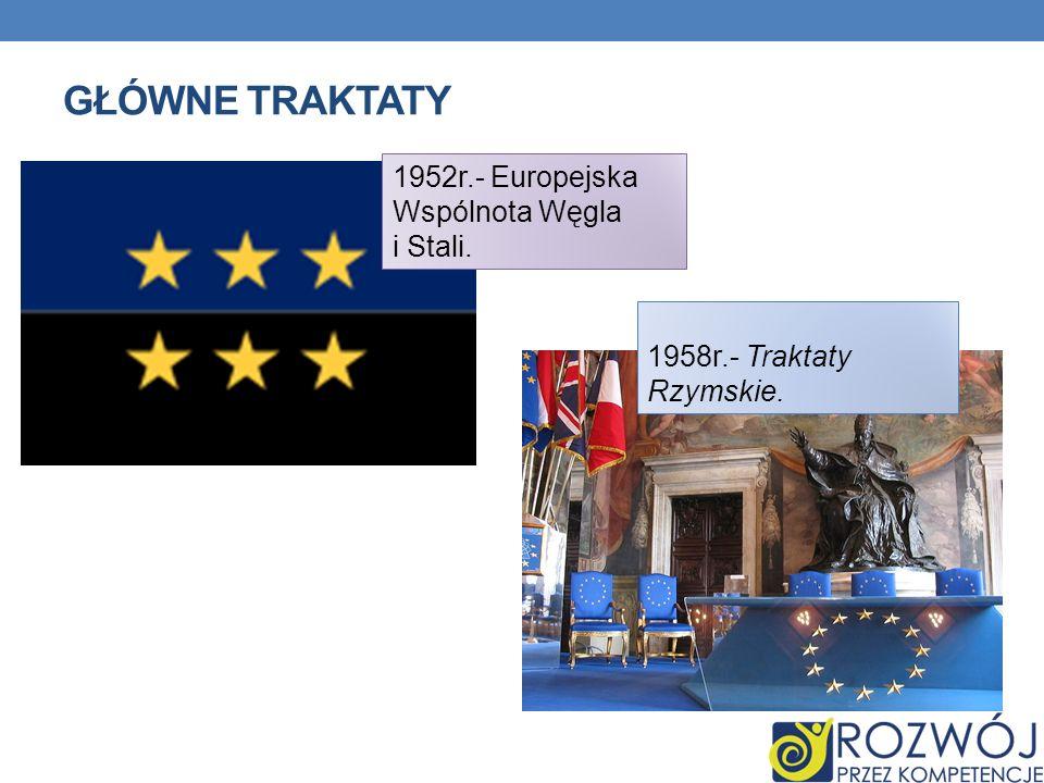 Główne traktaty 1952r.- Europejska Wspólnota Węgla i Stali.