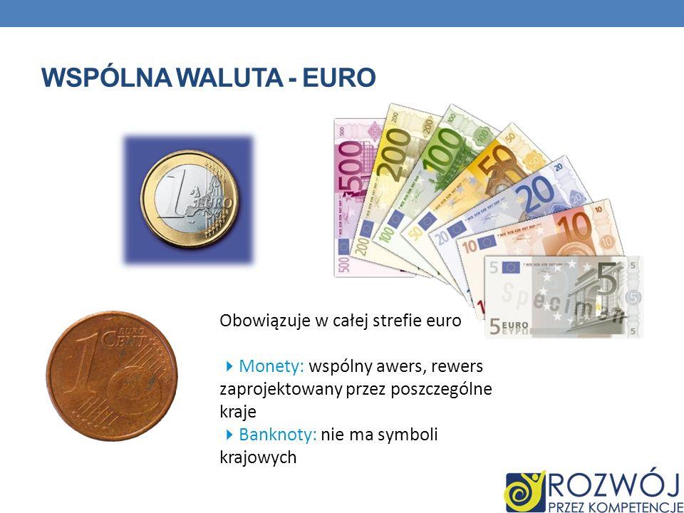 Wspólna waluta - euro Obowiązuje w całej strefie euro