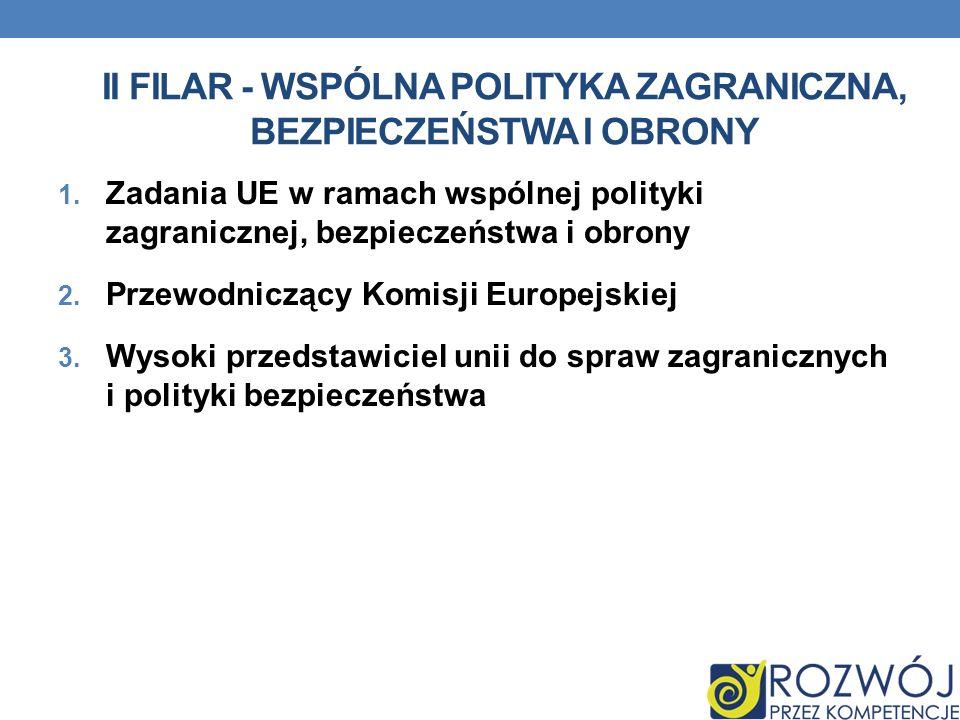 II filar - Wspólna Polityka Zagraniczna, Bezpieczeństwa i obrony