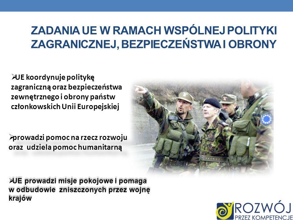 Zadania UE w ramach Wspólnej Polityki Zagranicznej, Bezpieczeństwa i obrony