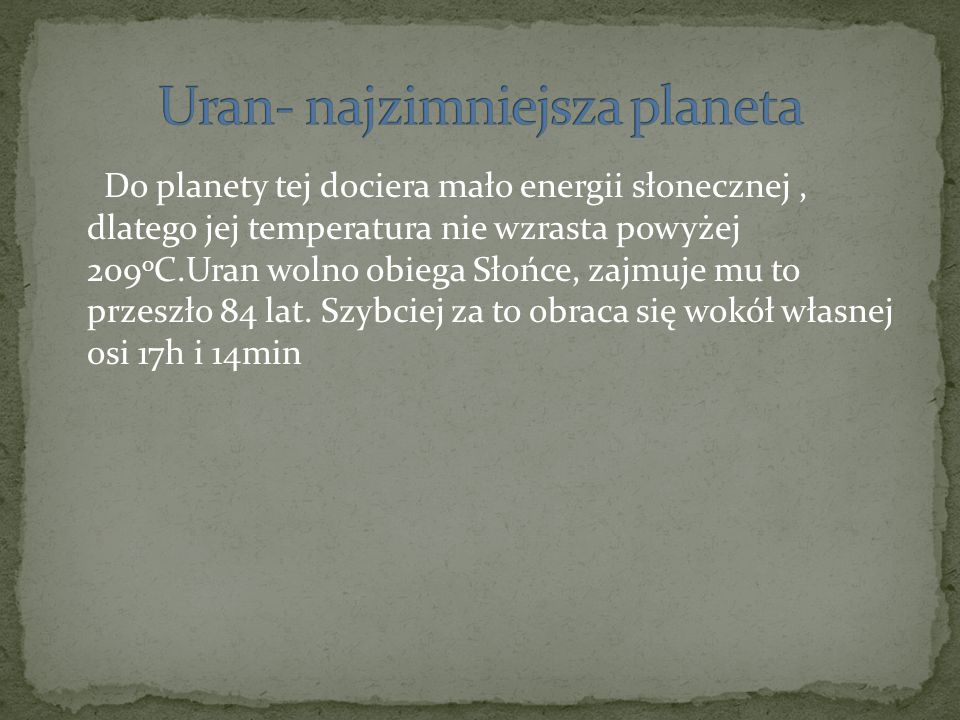 Uran- najzimniejsza planeta