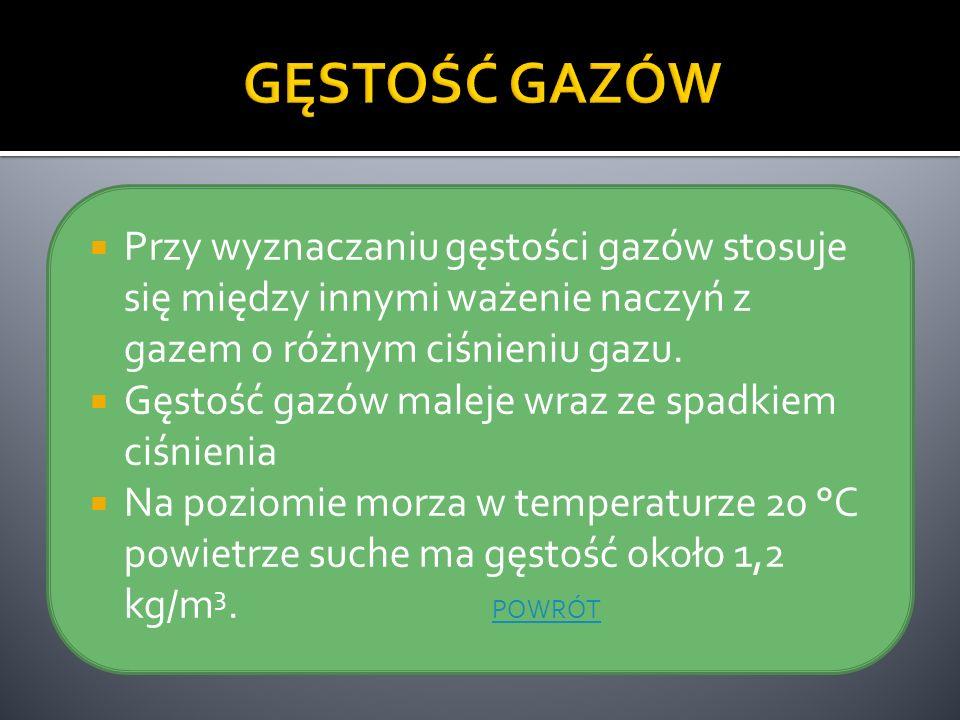 GĘSTOŚĆ GAZÓWPrzy wyznaczaniu gęstości gazów stosuje się między innymi ważenie naczyń z gazem o różnym ciśnieniu gazu.