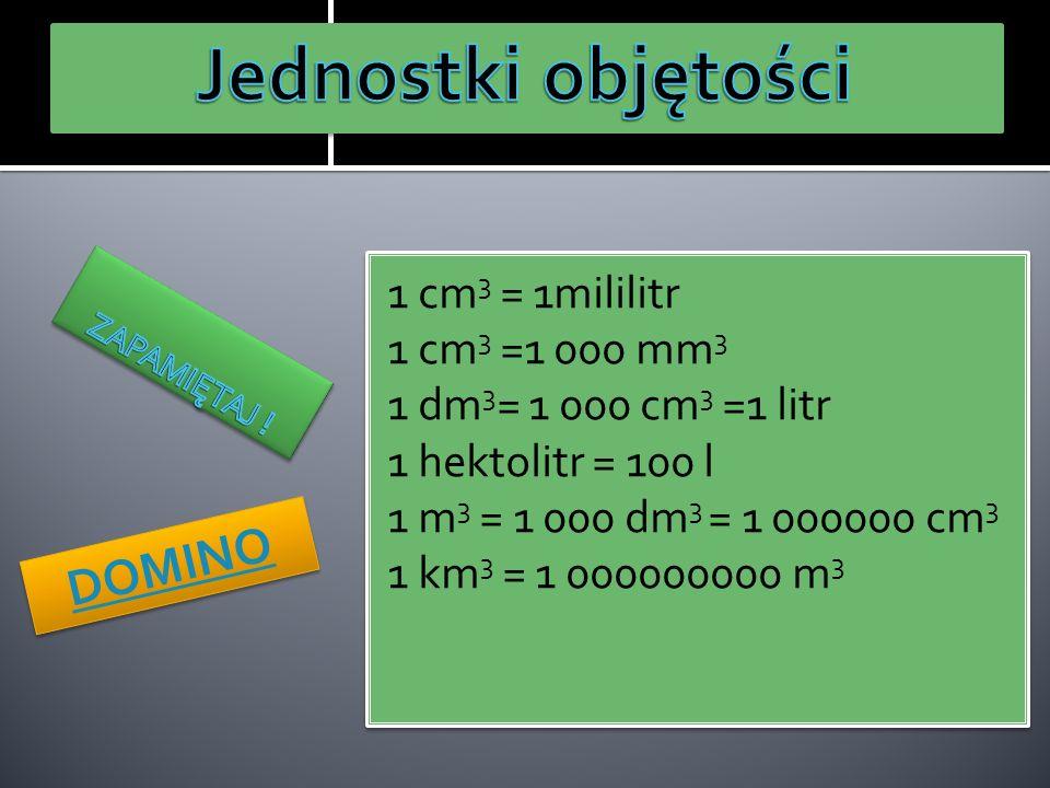 Jednostki objętości DOMINO 1 cm3 = 1mililitr 1 cm3 =1 000 mm3