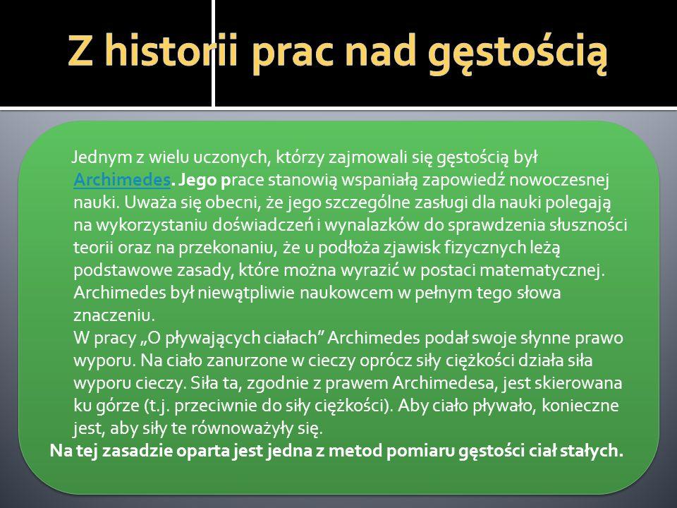 Z historii prac nad gęstością