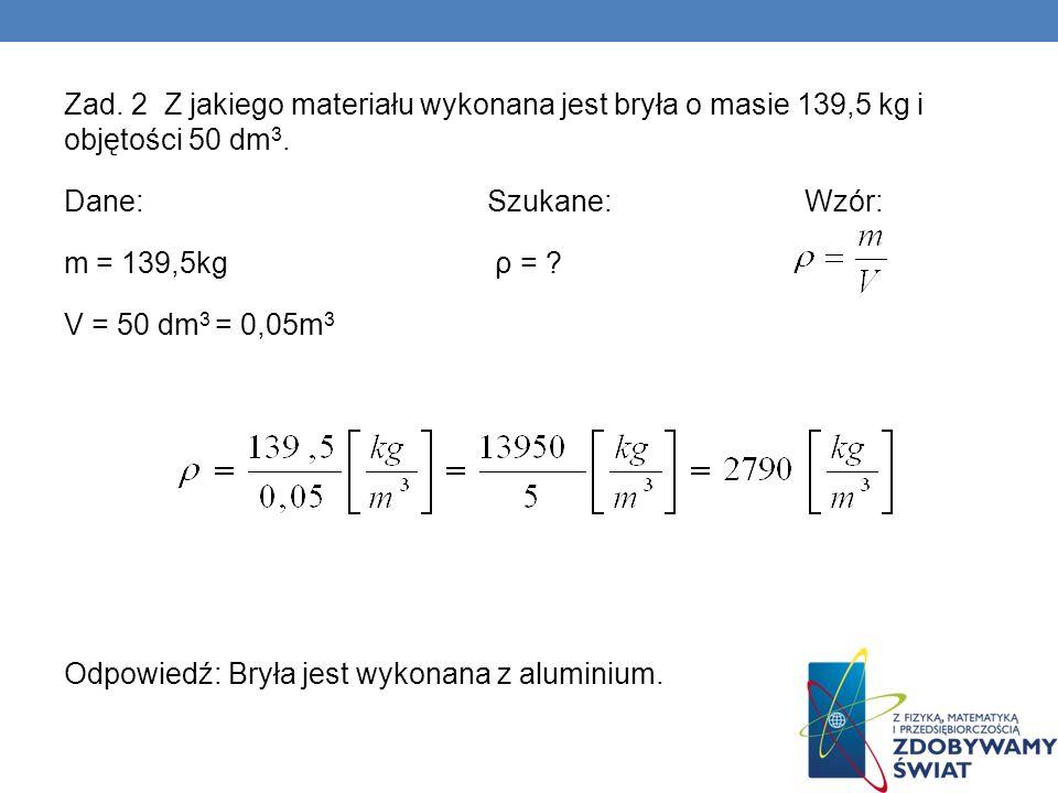 Zad.2 Z jakiego materiału wykonana jest bryła o masie 139,5 kg i objętości 50 dm3.