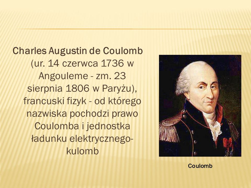 Charles Augustin de Coulomb (ur. 14 czerwca 1736 w Angouleme - zm