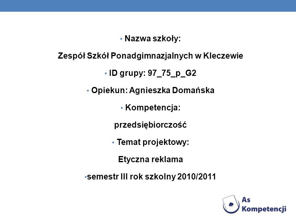 Zespół Szkół Ponadgimnazjalnych w Kleczewie ID grupy: 97_75_p_G2